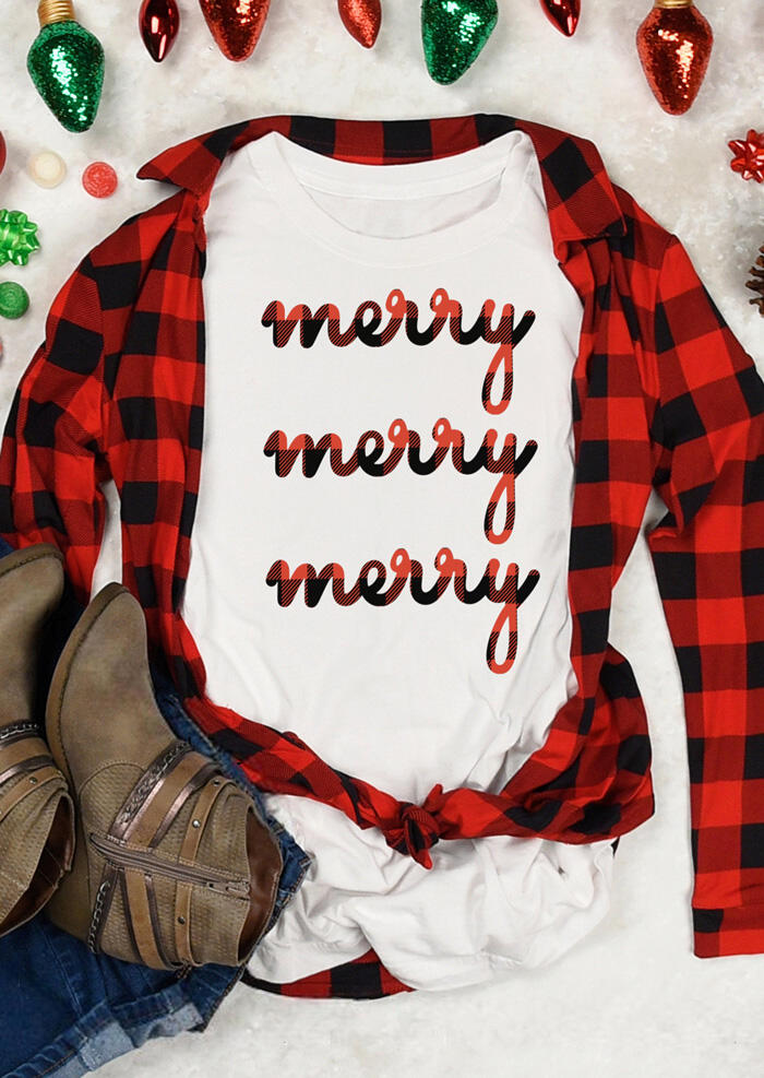 Plaid Printed Merry T-Shirt Tee – White