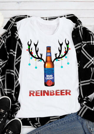 Christmas Bud Light Reinbeer T-Shirt Tee - White