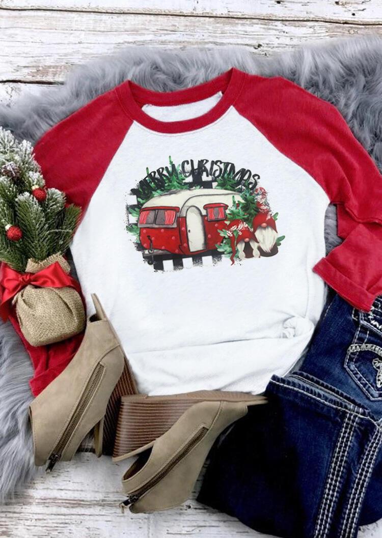 Merry Christmas O-Neck T-Shirt Tee – White