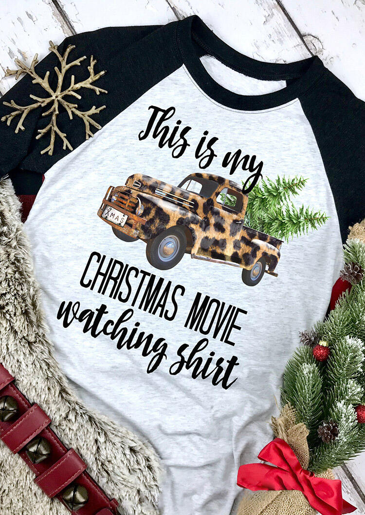 Leopard Printed This Is My Christmas Movie Watching T-Shirt Tee – Black
