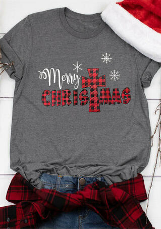 Plaid Merry Christmas Snowflake T-Shirt Tee - Gray