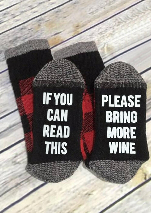 Plaid Please Bring More Wine Socks