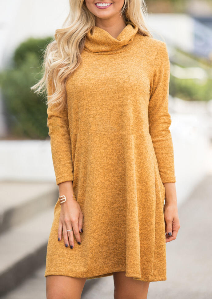 Mini Dresses Cowl Neck Long Sleeve Mini Dress - Yellow. Size: S,L,XL фото