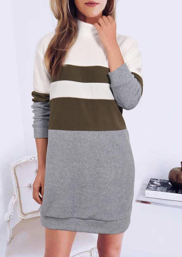 Color Block Long Sleeve Mini Dress – Gray
