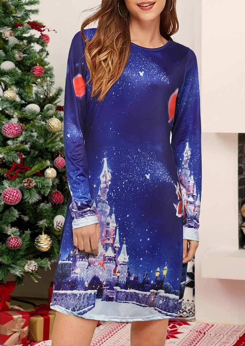 Starry Sky Printed Castle Mini Dress – Deep Blue