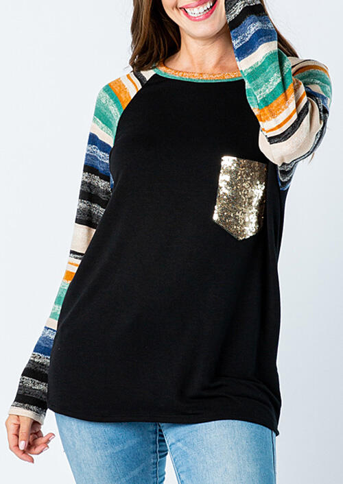 Colorful Striped Sequined Splicing Pocket T-Shirt Tee – Black