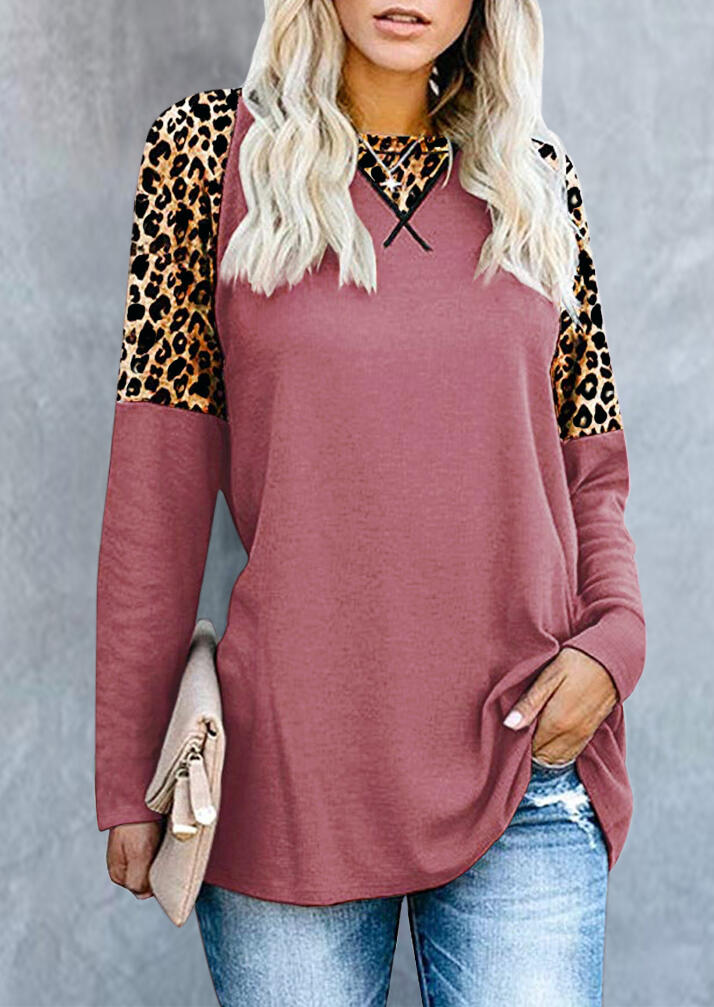Leopard Printed Splicing T-Shirt Tee without Necklace – Pink