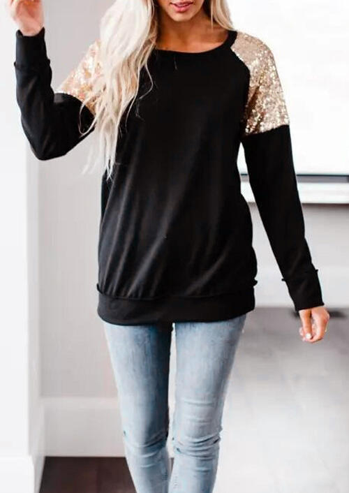 Sequined Splicing O-Neck Blouse – Black
