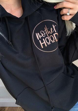 Mother Hood Pocket Drawstring Hoodie - Black