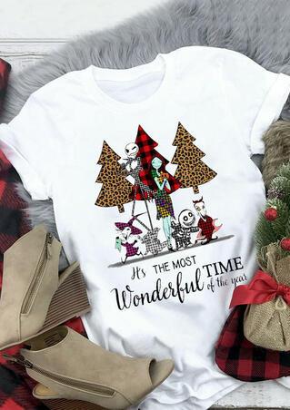 Plaid Leopard Printed Christmas Tree T-Shirt Tee - White