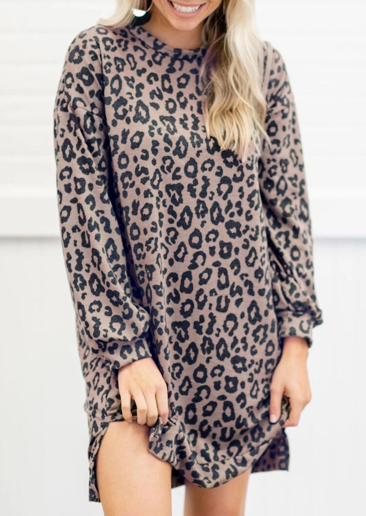 Leopard Printed Slit Long Sleeve Mini Dress