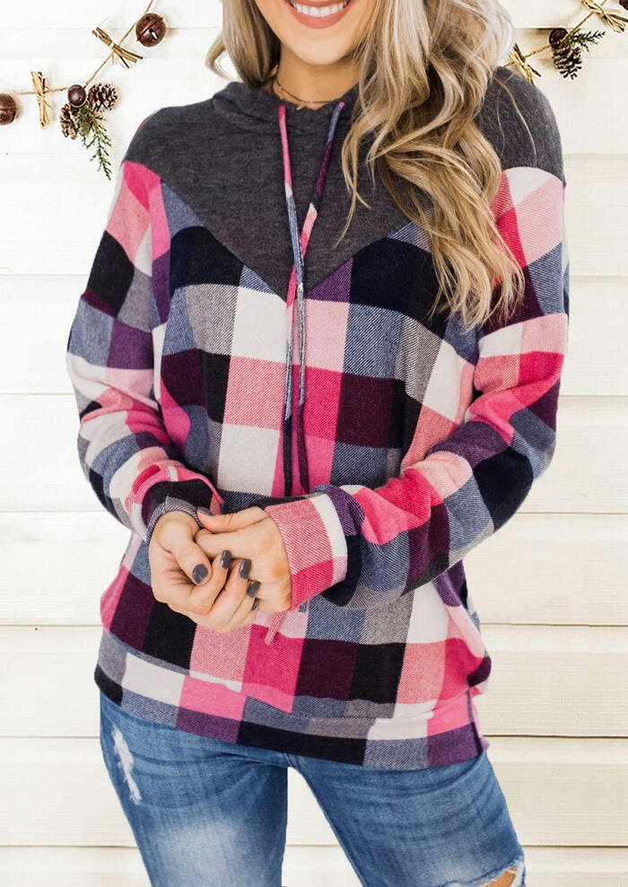 Plaid Splicing Drawstring Hoodie without Necklace