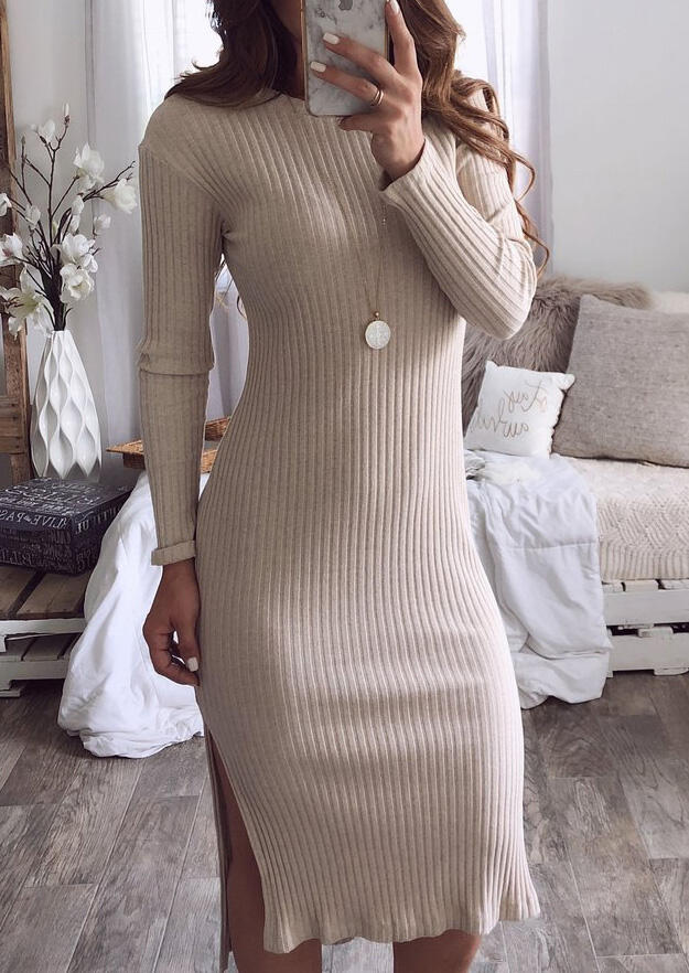Solid O-Neck Slit Casual Dress without Necklace – Khaki