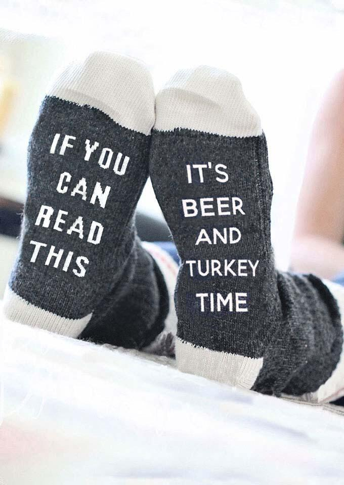 It's Beer And Turkey Time Socks фото