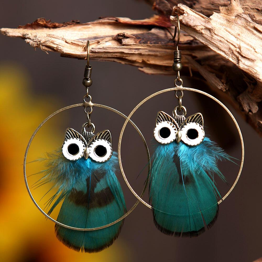 Circle Owl Feather Pendant Earrings