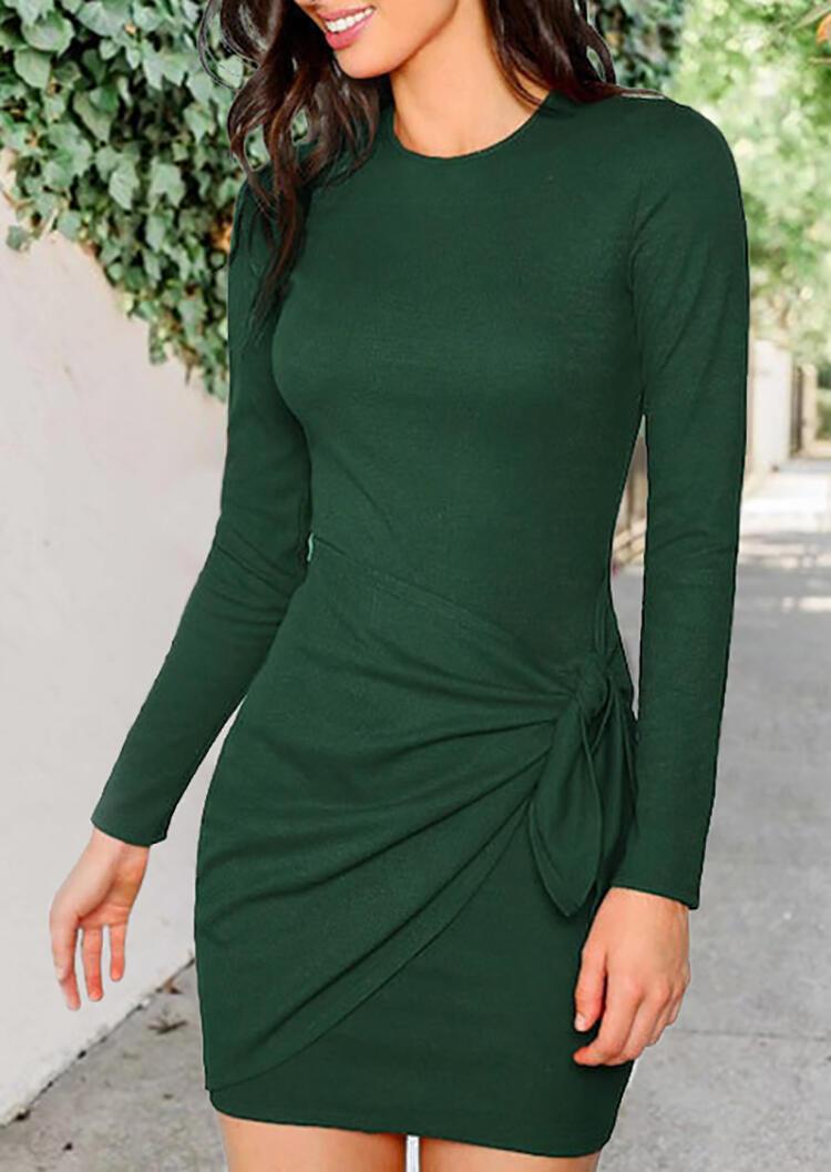 Solid Twist Tie Bodycon Dress – Green