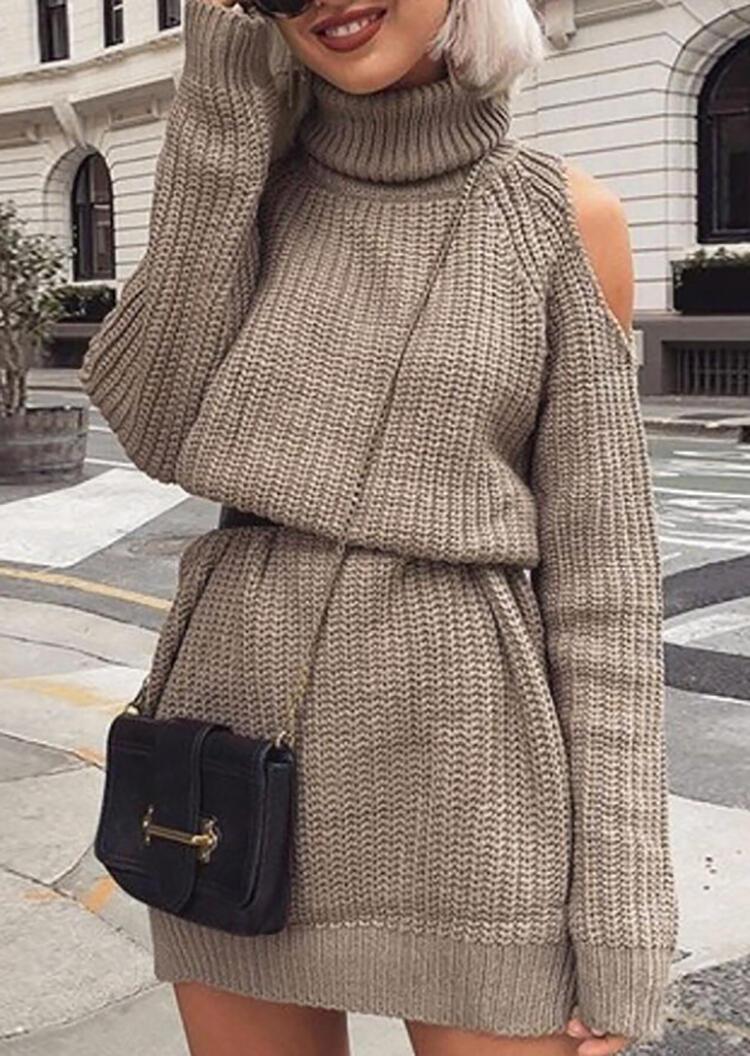 Solid Knitted Turtleneck Cold Shoulder Mini Dress – Light Brown