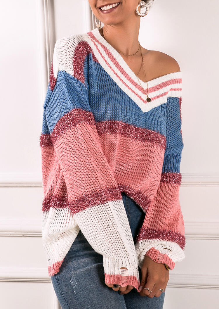Colorful Color Block Sweater without Necklace – Multicolor