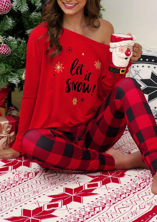 Christmas Let It Snow Blouse and Plaid Printed Leggings Pajamas Set - Red