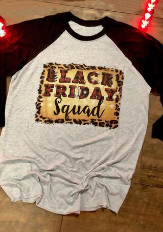 Black Friday Squad Leopard Plaid Printed T-Shirt Tee - Light Grey