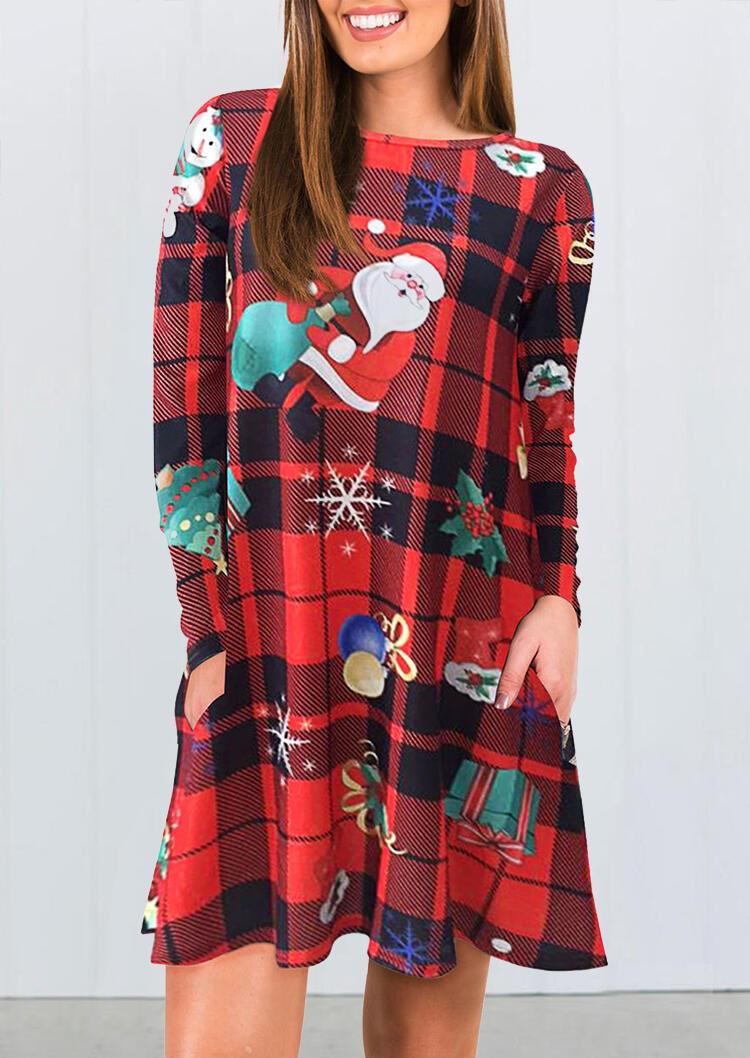 Plaid Printed Christmas Santa Snowflake Pocket Mini Dress – Red