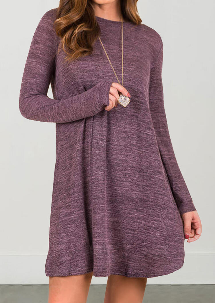 Solid Long Sleeve Mini Dress without Necklace – Purple