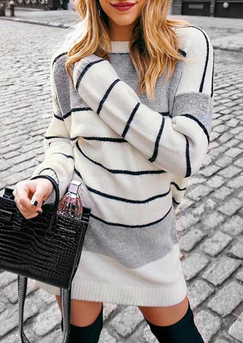 Striped Splicing Knitted Mini Dress – White
