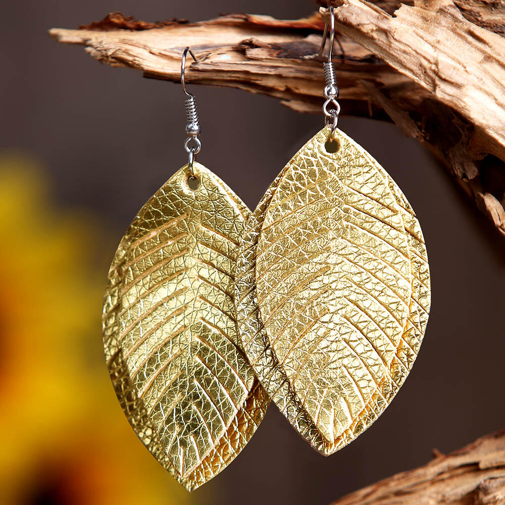 Solid Leaf Dual-Layered Earrings