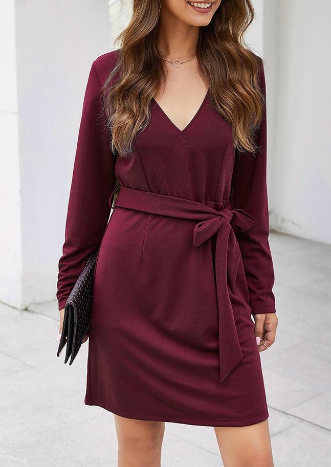 Solid V-Neck Mini Dress without Necklace – Burgundy