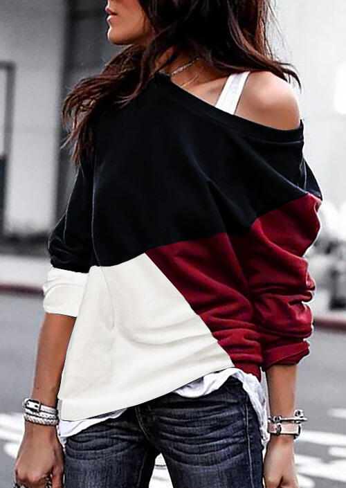 Color Block Batwing Sleeve Blouse without Necklace – Red