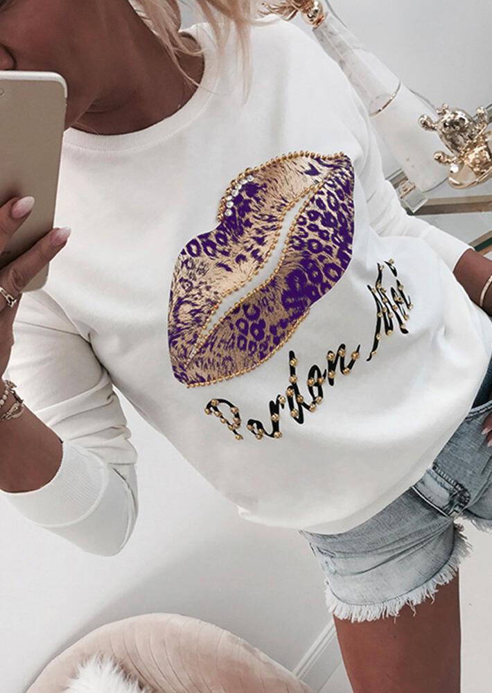 Leopard Printed Splicing Lips Beads  Sweatshirt – White