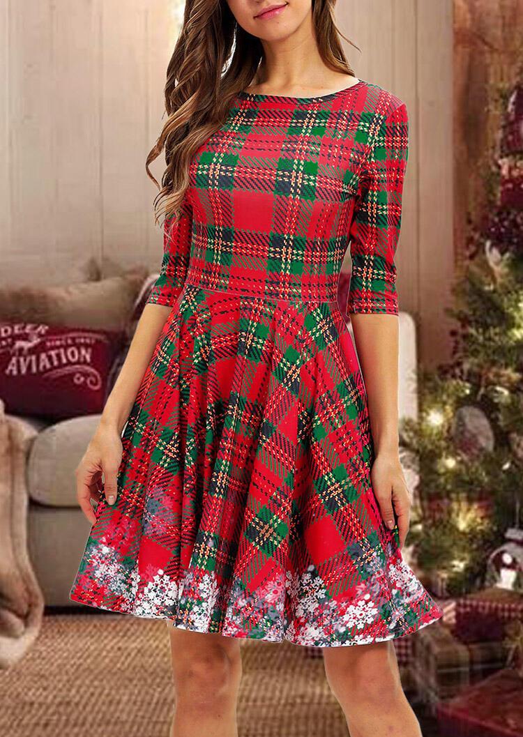 Plaid Snowflake Splicing Mini Dress – Red