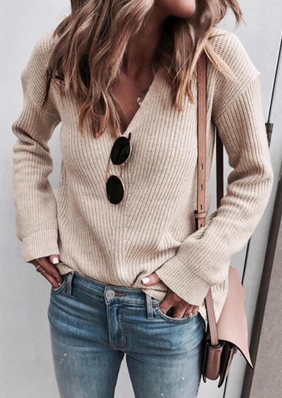 Knitted V-Neck Long Sleeve Sweater - Light Khaki