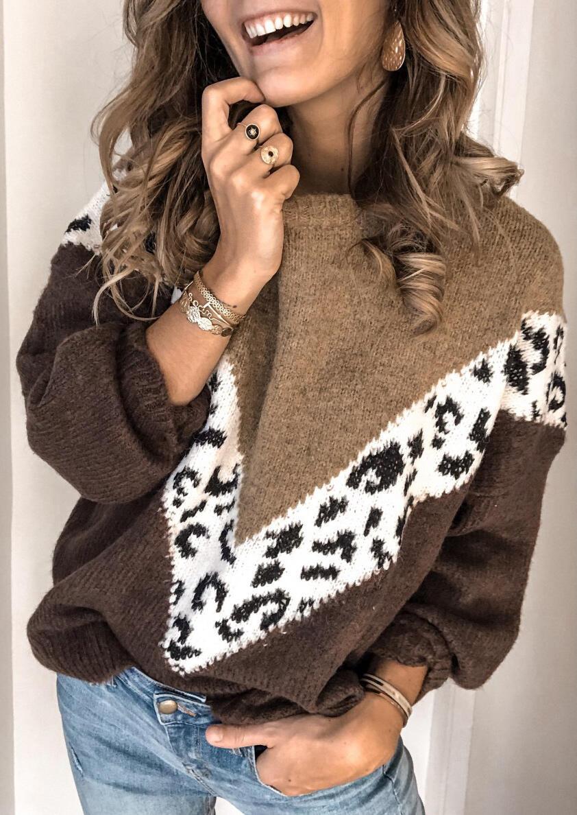 Color Block Leopard Printed Splicing Sweater – Coffee