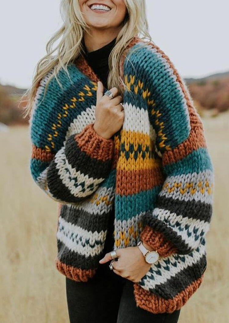 Color Block Splicing Cardigan Sweater – Multicolor