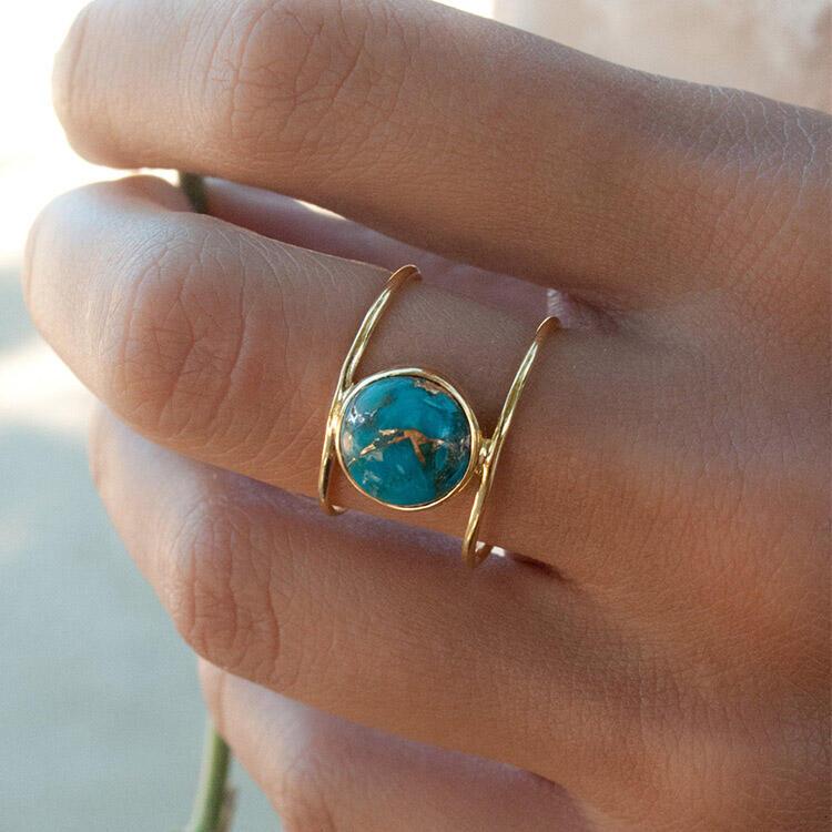 Women's Vintage Turquoise Round Ring