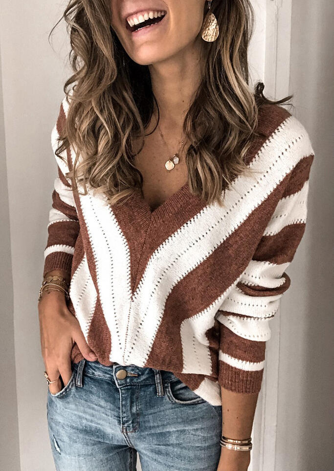 Striped Color Block Splicing Sweater without Necklace - Brown фото