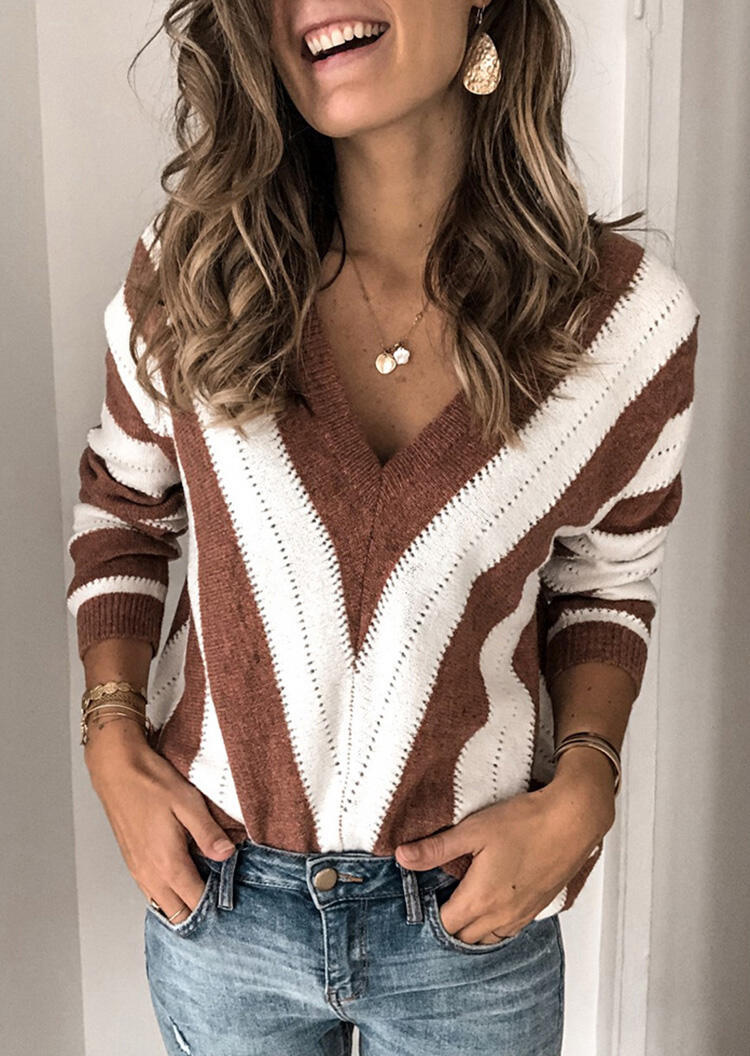 Striped Color Block Splicing Sweater without Necklace - Brown