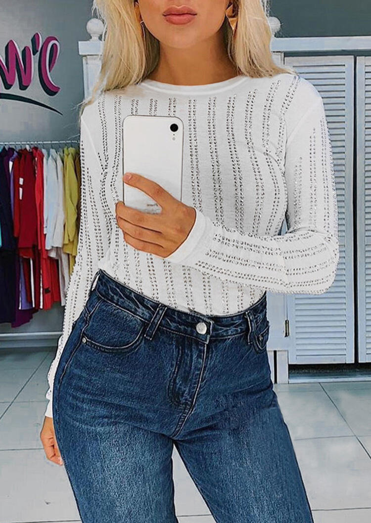 Circle Dot Long Sleeve Blouse – White
