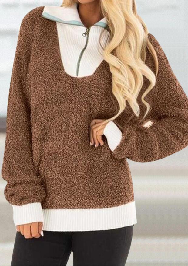 Color Block Plush Warm Zipper Sweatshirt – Brown