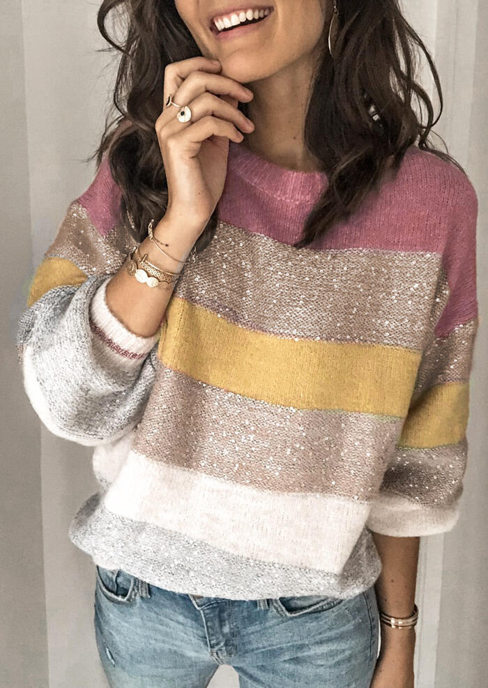 Color Block Splicing Knitted O-Neck Sweater – Pink