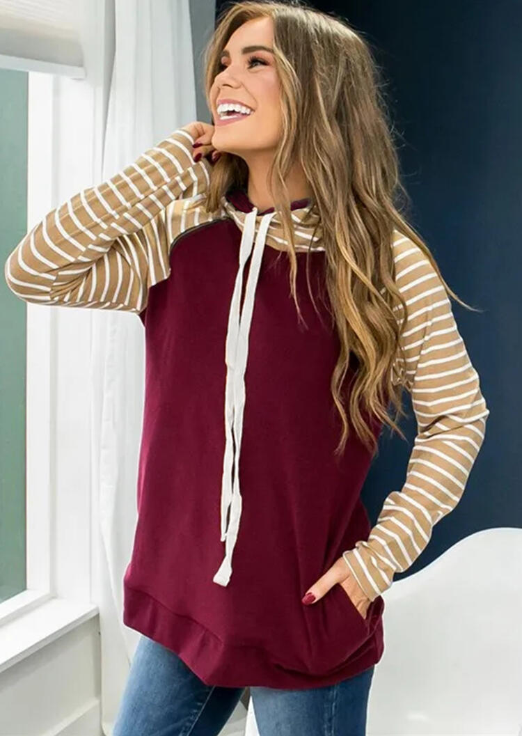 Striped Splicing Drawstring Pocket Hoodie – Burgundy
