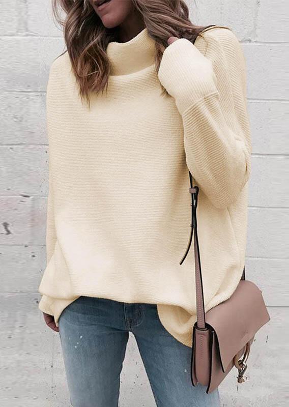 Warm Long Sleeve Turtleneck Sweater- Apricot