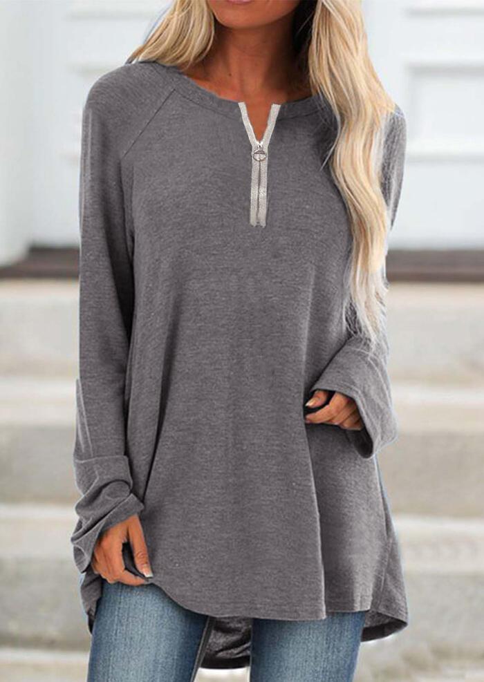 Zipper O-Neck Long Sleeve Loose Blouse – Gray