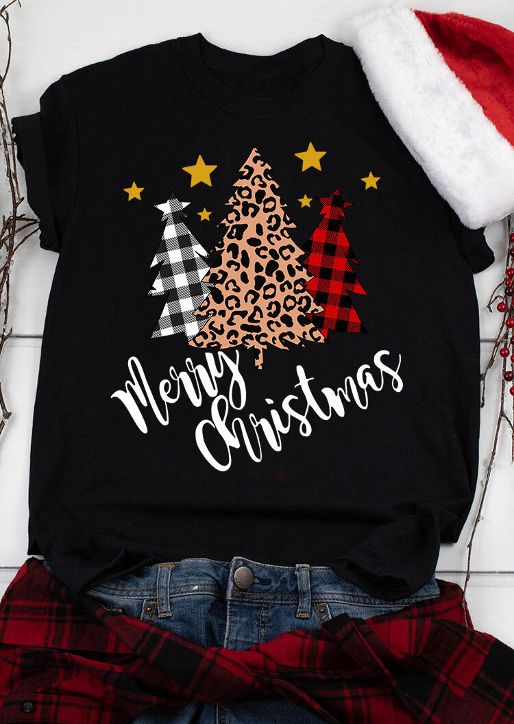 Plaid Leopard Printed Merry Christmas Trees T-Shirt Tee - Black