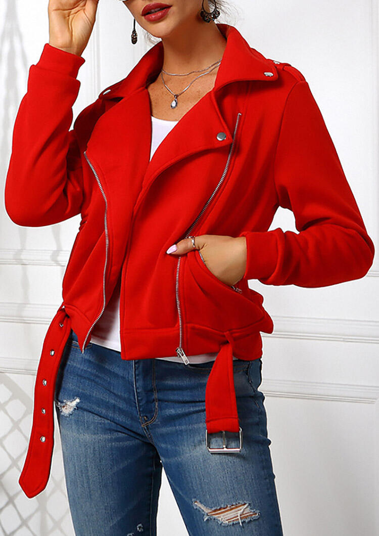 Solid Zipper Casual Jacket without Necklace – Red