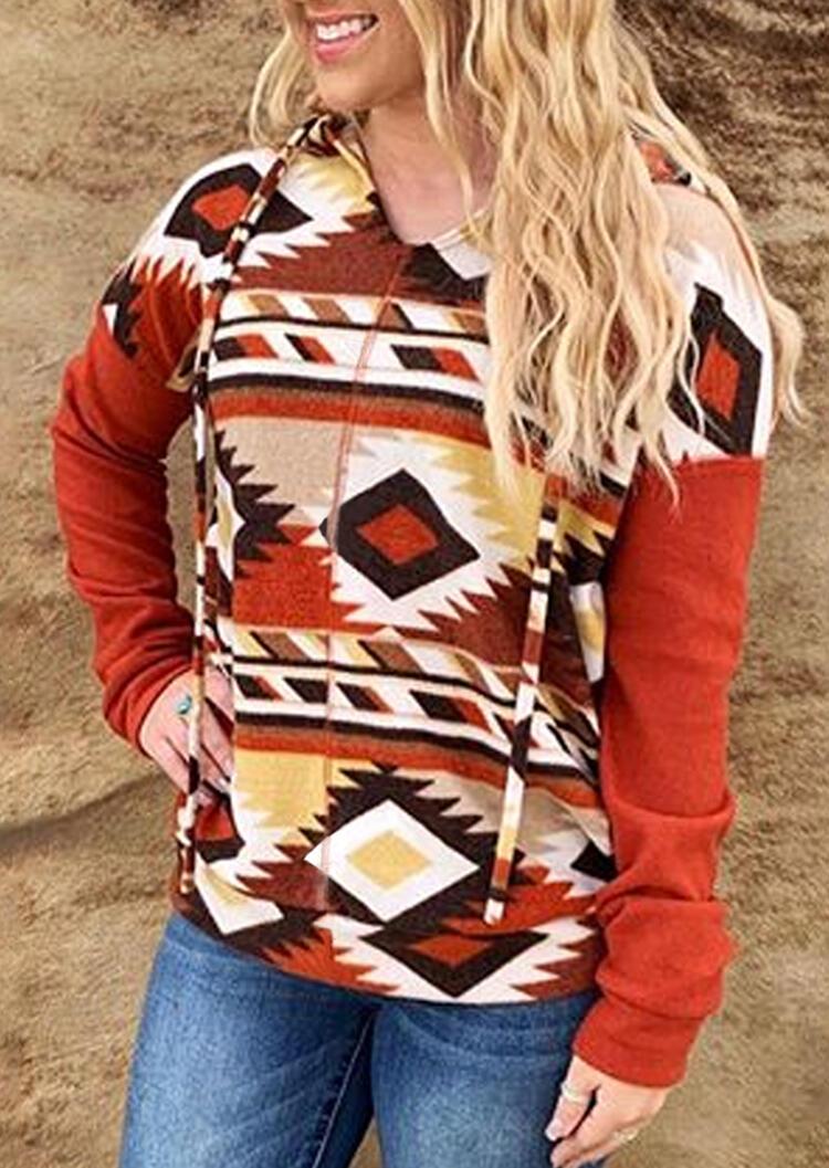 Aztec Geometric Printed Drawstring Hoodie – Multicolor