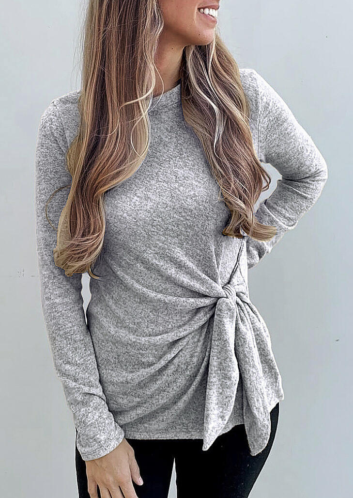 O-Neck Long Sleeve Tie Blouse – Gray