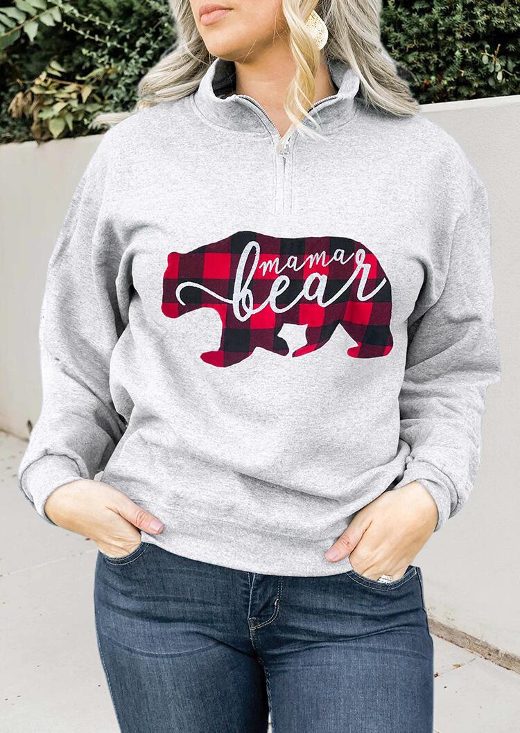 Mama Bear Plaid Printed Splicing Zipper Sweatshirt – Gray
