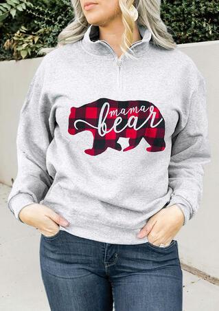 Mama Bear Plaid Printed Splicing Zipper Sweatshirt - Gray